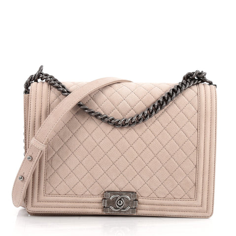 374b6b461b81 Buy Chanel Boy Flap Bag Quilted Matte Caviar Large Neutral 2558801 – Rebag