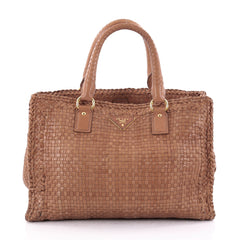 Prada Madras Convertible Open Tote Woven Leather Small Brown 2559701
