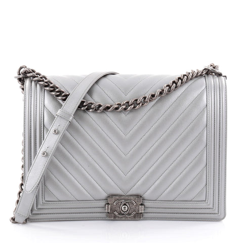 7d7d6ad36ee Buy Chanel Boy Flap Bag Chevron Caviar Large Silver 2560602 – Rebag
