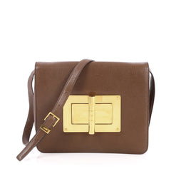 Tom Ford Natalia Convertible Clutch Leather Large Brown 2564502