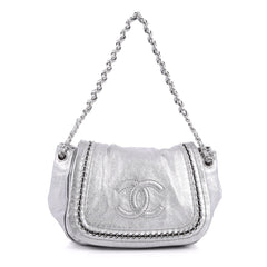 Chanel Luxe Ligne Accordion Handbag Leather Silver 2564504
