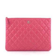 Chanel O Case Clutch Quilted Lambskin Medium Pink 2565101