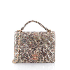 Chanel Full Flap Accordion Shoulder Bag Quilted Python 2565803