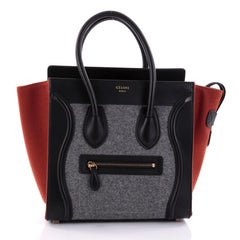 Celine Tricolor Luggage Handbag Felt Micro Black 2575201