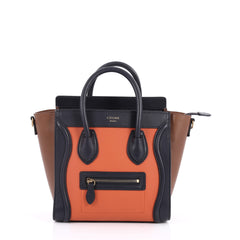 Celine Tricolor Luggage Handbag Leather Nano Orange 2580403