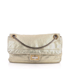 Chanel Drill Flap Bag Perforated Leather Medium Gold 2582801