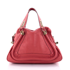 Chloe Paraty Top Handle Bag Leather Medium Red 2583301
