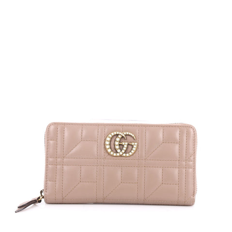 2c489355a16 Buy Gucci Pearly GG Marmont Zip Around Wallet Matelasse 2584507 – Rebag