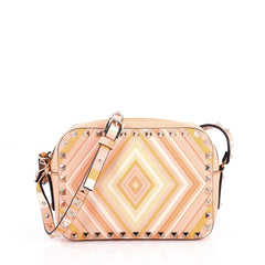 Valentino Rockstud 1975 Camera Crossbody Bag Striped Leather Pink 2586301