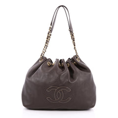 Chanel Vintage CC Drawstring Chain Shoulder Bag Leather Small Brown 2587004