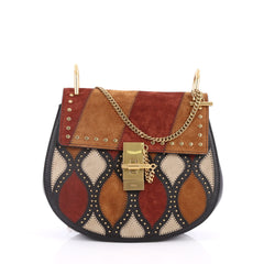 Chloe Drew Crossbody Bag Studded Patchwork Suede with Leather Small Red 2588201