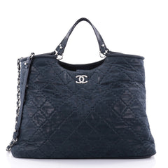 Chanel CC Sea Hit Tote Quilted Iridescent Calfskin Large Blue 2590301