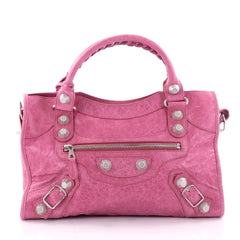 Balenciaga City Giant Studs Handbag Leather Medium Pink 2593901