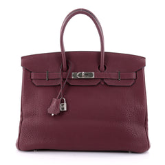 Hermes Birkin Handbag Purple Fjord with Palladium Hardware 35 Purple 2601102