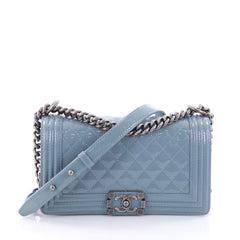 Chanel Boy Flap Bag Quilted Patent Old Medium Blue 2602702