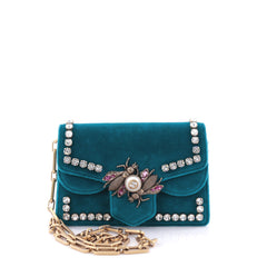 Gucci Broadway Pearly Bee Shoulder Bag Crystal Blue 2603103