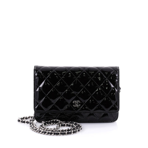 53dfc466cf9b Buy Chanel Wallet on Chain Quilted Patent Black 2607901 – Rebag