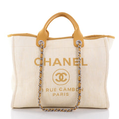 Chanel Deauville Chain Tote Canvas Large Yellow 2607902