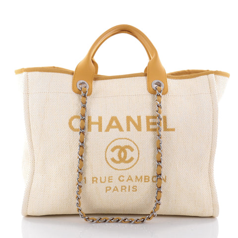 eb58cef9a3e4 Buy Chanel Deauville Chain Tote Canvas Large Yellow 2607902 – Rebag