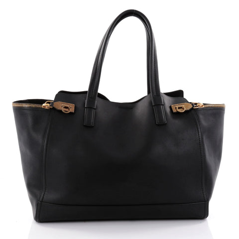 Buy Salvatore Ferragamo Verve Tote Leather Large Black 2613801 – Rebag d79dadeadfc20