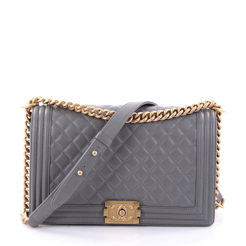 Buy Chanel Boy Flap Bag Quilted Lambskin New Medium Gray 2616201 – Rebag ae8d8553f5d63