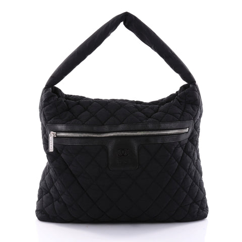 b83bc96d27c6 Buy Chanel Coco Cocoon Hobo Quilted Nylon Medium Black 2616603 – Rebag