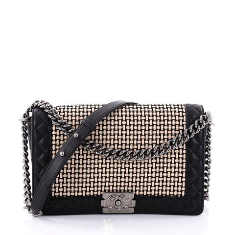fa1f5b2284b3 Buy Chanel Reverso Boy Flap Bag Woven Calfskin Old Medium 2617102 – Rebag