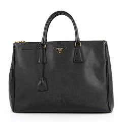 Prada Double Zip Lux Tote Saffiano Leather Large Black 2620801