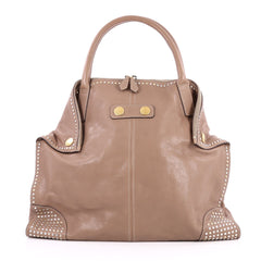 Alexander McQueen De Manta Tote Studded Leather Large Neutral 2623004