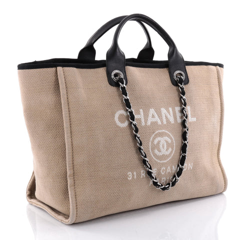 4d8158b662f9 Chanel Deauville Tote Colors. Buy Chanel Deauville Chain Tote Canvas Large  Brown ...