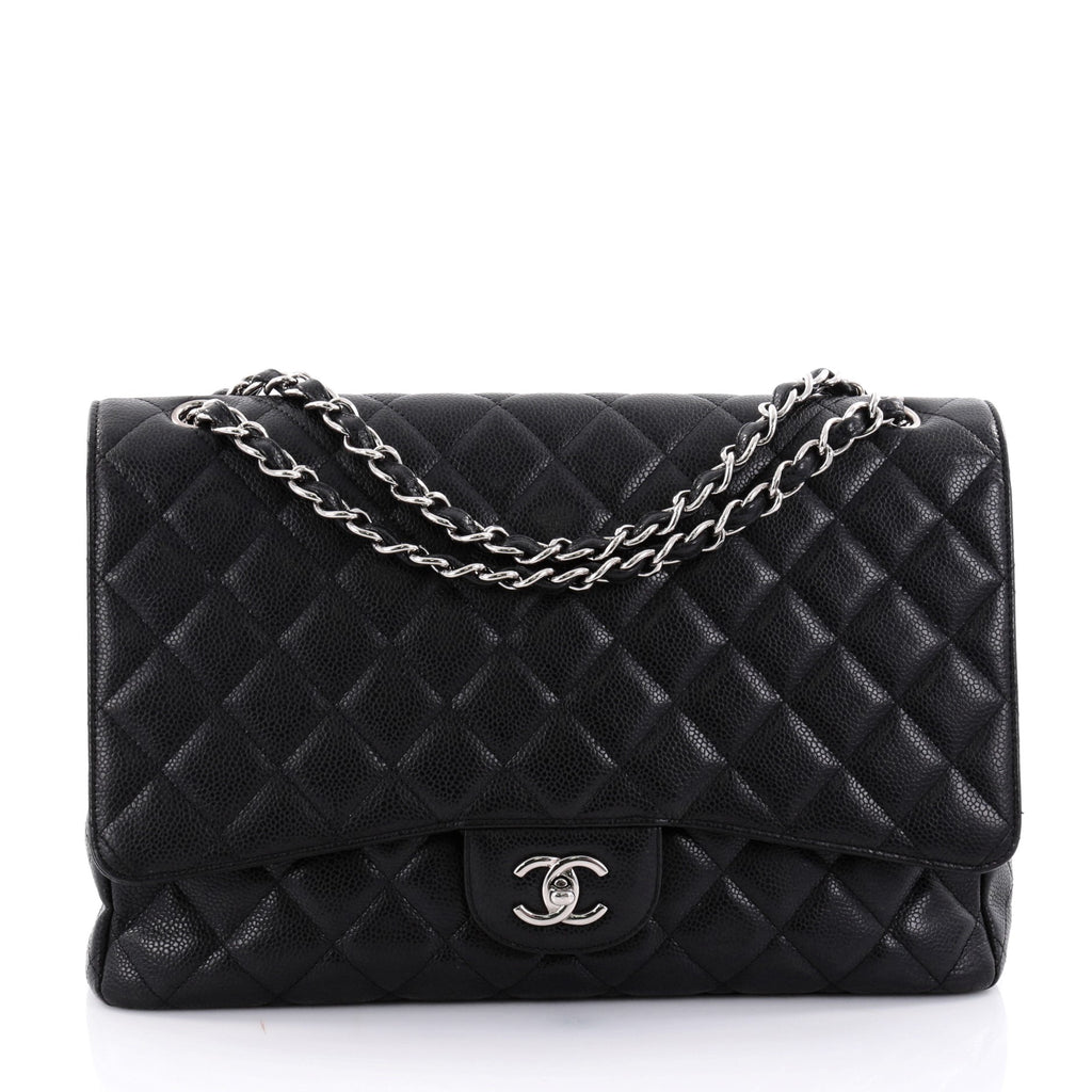 Buy Chanel Classic Single Flap Bag Quilted Caviar Maxi Black ... : chanel bags quilted - Adamdwight.com