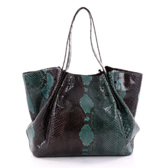 Pleated Tote Python with Crocodile Large