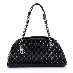 Chanel Just Mademoiselle Handbag Quilted Patent Medium 2633101
