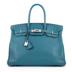 Hermes Birkin Handbag Bicolor Clemence with Palladium Hardware 35 Blue 2634601