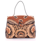 Valentino Floral Top Handle Bag Printed Leather Large Brown 2636001