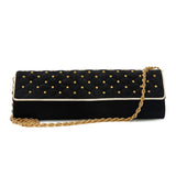 Roberto Cavalli Clutch Suede Quilted with Gold Studs