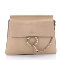 Chloe Faye Shoulder Bag Embossed Leather Medium Neutral 2643901