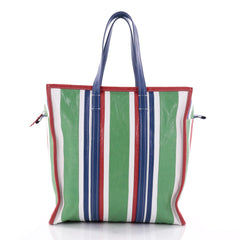 Balenciaga Bazar Tote Striped Leather Medium Green 2645004
