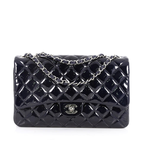 a90c5b01f0e7 Buy Chanel 3 Bag Quilted Patent Jumbo Blue 2645102 – Rebag
