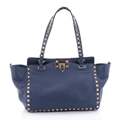 Valentino Rockstud Tote Soft Leather Small Blue 2647201