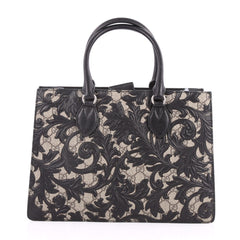 Gucci Convertible Gusset Tote Arabesque GG Coated Canvas Medium Black 2647701