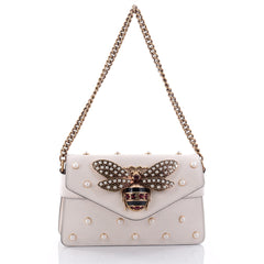 Gucci Broadway Pearly Bee Shoulder Bag Embellished Leather Mini White 2648707