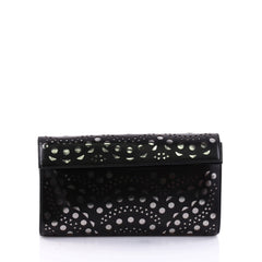 Alaia Flap Clutch Laser Cut Leather Small Black 2648711