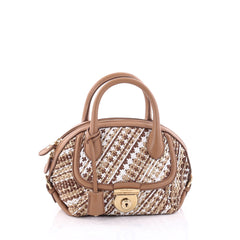 Salvatore Ferragamo Fiamma Satchel Woven Leather Mini Brown 2649001