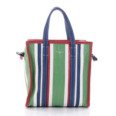 Balenciaga Bazar Convertible Tote Striped Leather Small Green 2653804