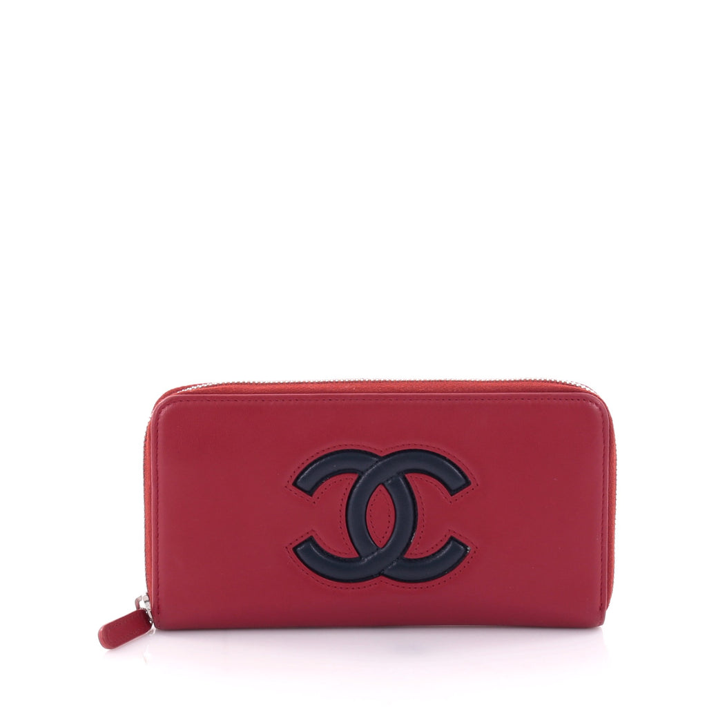 97ac17e27410 Buy Chanel Airlines CC Zip Wallet Lambskin Long Red
