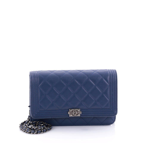 Buy Chanel Boy Wallet on Chain Quilted Lambskin Blue 2657001 – Rebag 3d6998b8cd3f5