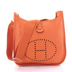 Hermes Evelyne Crossbody Gen III Clemence GM Orange 2659004