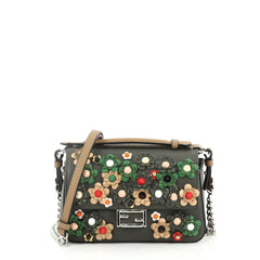 Fendi Double Baguette Flower Studded Leather Micro Black 2659601