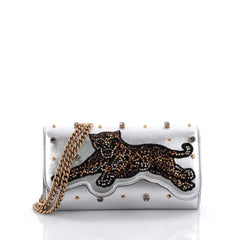 Gucci Broadway Tiger Chain Clutch Embellished Leather Mini Silver 2659602